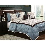 Victoria Classics Alexandria8-Piece Queen Comforter Set, Blue