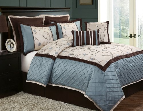 Aqua, Turquoise Blue and Brown Bedding