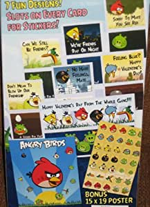 Angry Birds 34 Valentines w 35 Stickers and Bonus Poster