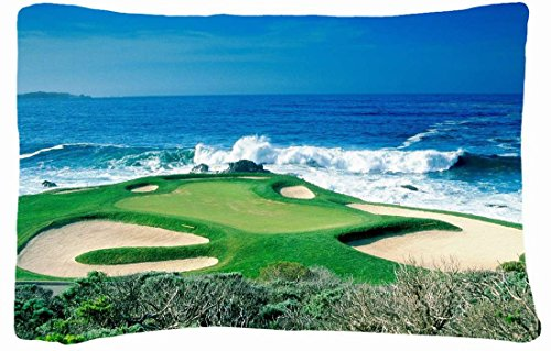 Microfiber Peach Standard Soft And Silky Decorative Pillow Case (20 * 26 Inch) - Nature Golf Course Sea Ocean Wave Nature front-762738