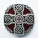 Belt Buckle (Red Enamel Celtic Cross...