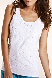 Per Una Bead Embroidered Floral Jersey Vest Top [T62-4342I-S]