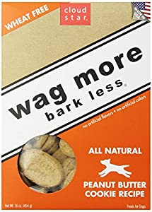 Cloud Star Wag More Bark Less Oven Baked Dog Treats - Peanut Butter Cookie,16-Ounce (Pack of 4)