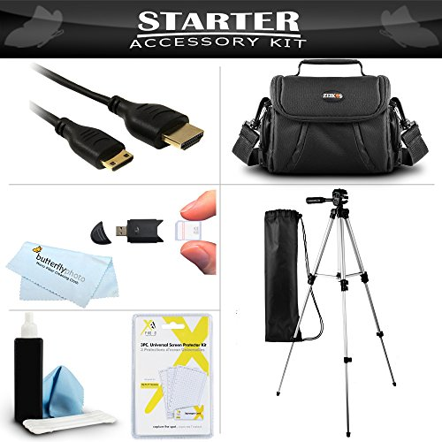 """Essential Accessory Kit For Toshiba Camileo H30 X100 HD Camcorder Includes 50"""" Tripod + Deluxe Case + Mini HDMI Cable + Lens Cleaning Kit + Screen Protectors + More"""