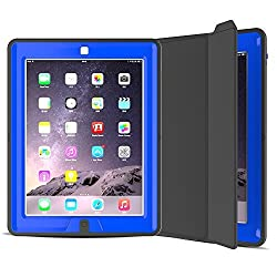 iPad 2/3/4 Case, 3 In1 PC + TPU + Leather Hybrid [Stand] Shockproof Protective Cover Case with Auto Wake / Sleep for Apple Ipad 4/3/2 with Screen Protect,Color (Navy Blue)