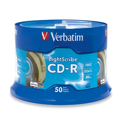 Verbatim 96164 700 MB 52x LightScribe Gold Recordable Discs CD-R, 50-Disc Spindle