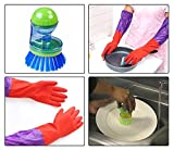SUPER SAVER COMBO!!! HOKIPO Kitchen Gloves + Advanced Liquid Soap Dispensing Cleaning Brush