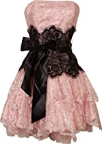 Big Sale Strapless Bustier Contrast Lace and Crinoline Ruffle Prom Mini Dress Junior Plus Size, 3X, Pink/Black