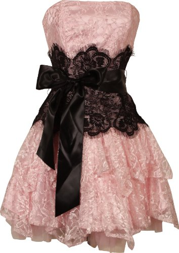 Strapless Bustier Contrast Lace and Crinoline Ruffle Prom Mini Dress Junior Plus Size, Small, Pink/Black