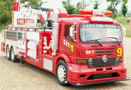 超多機能リアル全長85cm消防車ラジコン●おもちゃ玩具はしご伸縮