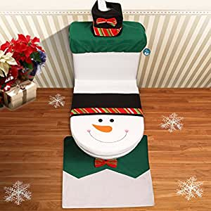 archie benson 3pcs set christmas decoration snowman bow bathroom sets