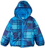 Big Chill Boys and Toddlers Plaid Hooded Puffer Jacket - Blue (Size 7)