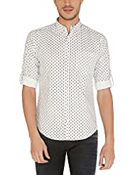 Nick&Jess Mens White Extra Fine Cotton Printed Slim Fit Shirt