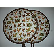 Pair of Farmyard Country Kitchen Chicken & Rooster Range Cooker Hob Lid Covers Hob Top Pads