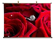 buy Red Roses N Wedding Ring - Canvas Wall Scroll Poster (Watercolor Style 32X24 Inches)