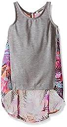 Kensie Big Girls Jersey Tank and Printed Chiffon Pullover Top, Multi Print, 7/8