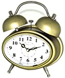 Maple's Oval Double Bell Alarm Clock, Gold finish