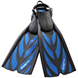 Sherwood Fusion Spring Strap Dive Fins, Blue, Regular, Regular/Blue