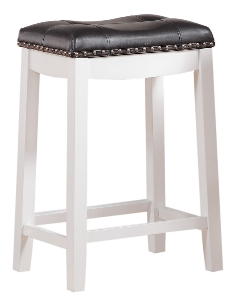 "Angel Line Cambridge 24"" Padded Saddle Stool, White with Black Cushion"