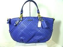 Coach Madison Woven Leather Sophia Handbag Tote Satchel Purse 22861 Indigo