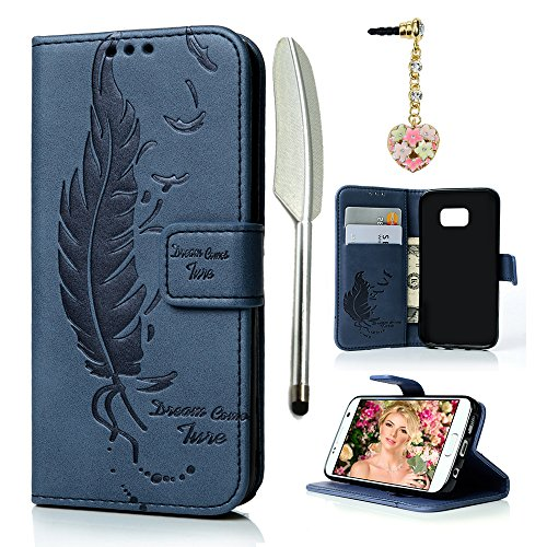 S7 Case,Galaxy S7 Case(2016), MOLLYCOOCLE Stand Wallet Premium PU Leather Embossed Flying Birds Design Magnetic Closure Credit Card Holders Flip Folio Protective Skin Cover for Samsung Galaxy S7,Navy