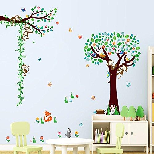 zooarts-foret-singe-arbres-fleurs-oiseaux-papillon-sticker-mural-autocollant-amovible-en-vinyle-pour