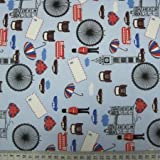 Blue London Print Cotton Fabric - sold per metre