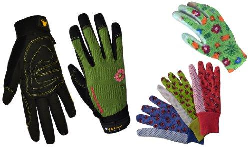 G & F 1093-1519-18523M Garden gloves assortment, 3 styles, Women's, Medium, 5 pairs