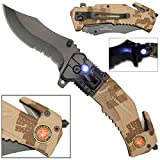 LED Flashlight Tactical Rescue Pocket Knife US Marines (Color: Desert Camouflage, Tamaño: pocket size)