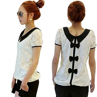 Lowpricenice(TM) Fashion Women Casual Lace Chiffon Pan Collar T-Shirt Blouse Top