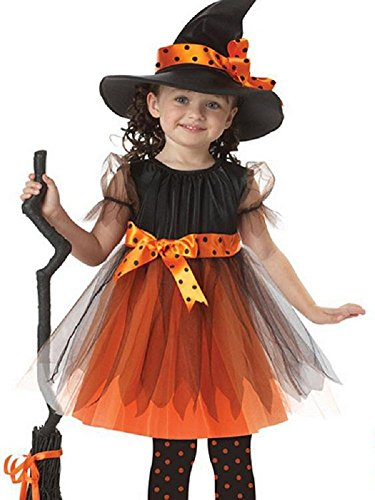 [LQVOG Halloween Witch Costume Dance Cosplay Party Fancy Dress ball (S /height 37-41 inch)] (Girls Rockin Witch Costumes)