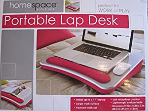 "Portable Lap Desk Large work Surface to 17"" Padded Pink from Home Space Solutions"