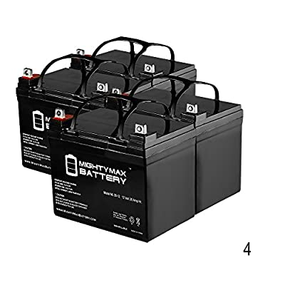 12V 35AH Wilderness Tarpon 100 Kayak Trolling Motor Battery - 4 Pack - Mighty Max Battery brand product