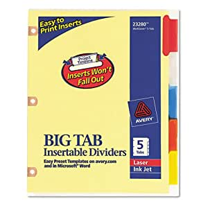 Avery big tab reinforced insert divider for Avery big tab inserts for dividers 8 tab template