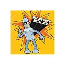 "Futurama - Art Print / Poster (Bender: Bite My Shiny Metal A**!) (Size: 16"" x 16"")"