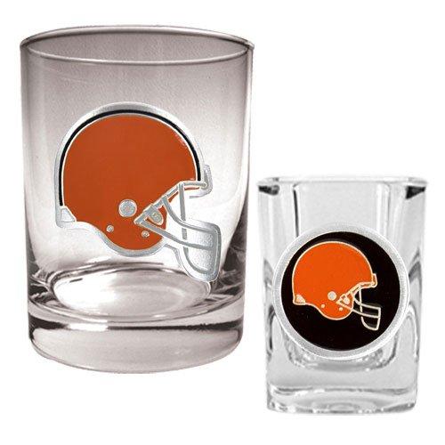 Nfl Cleveland Browns Rocks Glass & Shot Glass Set - Primary Logo