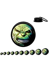 Pair of The Incredible Hulk Licensed Plugs - Acrylic Screw - 1/2""