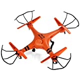 GPTOYS H2O Aviax - Mini Drone impermeable, (Cuadricóptero Radiocontrol, 4 Canales 2.4GHz, 6 Axis Giroscopio, 3D eversión, Transmisor LCD), Naranja