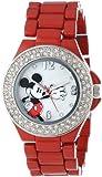 Disney Women's MK2071 Mickey Mouse Mother-of-Pearl Dial Red Enamel Bracelet Watch