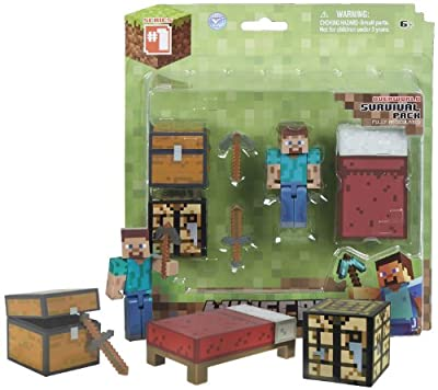 Overworld Survival Pack 275 Minecraft Mini Fully Articulated Action Figure Pack from Jazwares