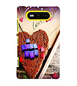 PrintVisa Romantic Love Hearts Cake 3D Hard Polycarbonate Designer Back Case Cover for Nokia Lumia 820