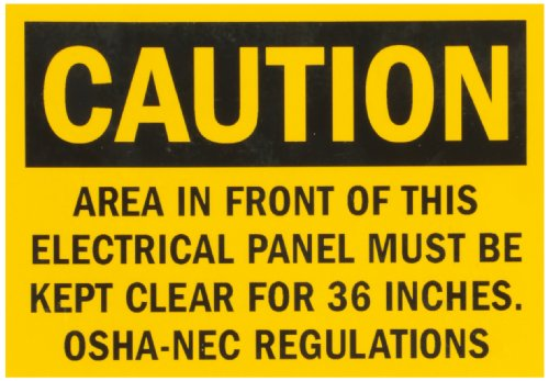 "Smartsign Adhesive Vinyl Osha Safety Sign, Legend ""Caution: Electrical Panel Area "", 3.5"" High X 5"" Wide, Black On Yellow"