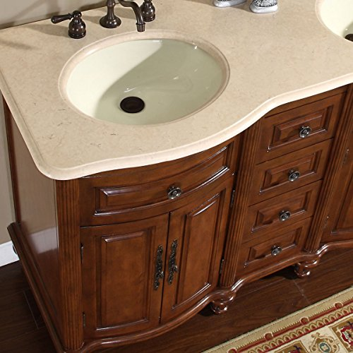 Silkroad exclusive marble stone top double sink bathroom vanity with cabinet 55 inch steam for 55 inch double sink bathroom vanity