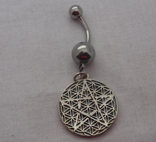 925 Sterling Silver Five Point Star Pentagram Front And Flower Of Life Pattern On Charm Back Belly Ring