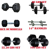 Special Sales: Lowest Price on Amazon: 40, 50, 52.5, 60, 105 lbs Adjustable Cast Iron Dumbbells, 45, 50 lbs Hex Dumbbells (the XX.01s), 20, 25, 30 Rubber Coated Hex Dumbbells (the XX.02s), and Dumbbell Handles - Gym Quality Dumbbells! from Yes4All