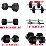 Yes4All 40 lbs, 50 lbs, 52.5 lbs, 60 lbs, 105 lbs Adjustable Cast Iron Dumbbells, 45, 50 lbs Hex Dumbbells (the XX.01s), 20, 25, 30 Rubber Coated Hex Dumbbells (the XX.02s), and Dumbbell Handles - Special Promotion - LOWEST PRICE ON THE MARKET!