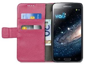 vau The Book pink - ECHT-Leder Case, Etui-Tasche für Samsung Galaxy S5