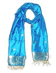Indian Fashion Guru Pure Silk Blue Stole For Women