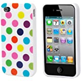 TRIXES Polka Dots Multi-Coloured White Series Soft Gel Case Cover Skin for Apple iPhone 4 4S 4G