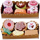 Wooden Cakes And Biscuits Set, With Selection Cards and Sturdy Cardboard Serving Trays
